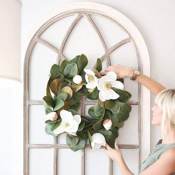 "Diy Farmhouse Decor Ideas: 24"" Faux Magnolia Wreath In 2019"