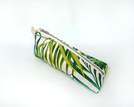 Palm leaf pencil case, Green pencil pouch, Trousse, Tropical print, Green leaf pouch, Triangle pencil holder, Leaves pen bag, Accessory case
