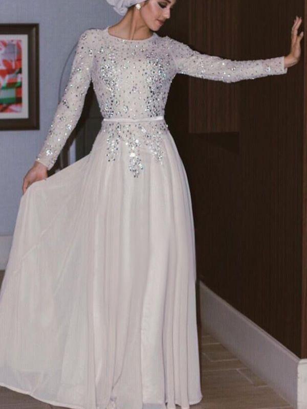 A-line+Scoop+Floor-length+Chiffon+Prom+Dresses/Evening+Dresses+#SP7318