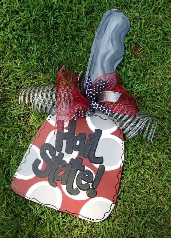 Mississippi State University cowbell  sports door by paintchic, $40.00