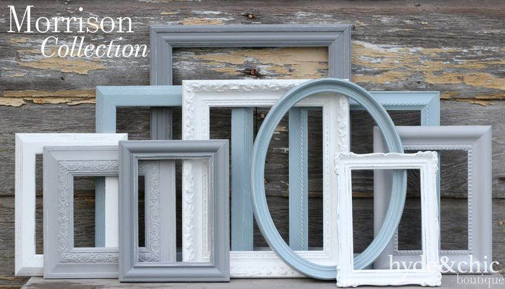Shabby Chic Decor / Upcycled Distressed Picture Frame Set / Nursery Decor / Gallery Wall Frame Set /  Custom Order / Morrison Collection by hydeandchicboutique on Etsy https://www.etsy.com/ca/listing/167462302/shabby-chic-decor-upcycled-distressed