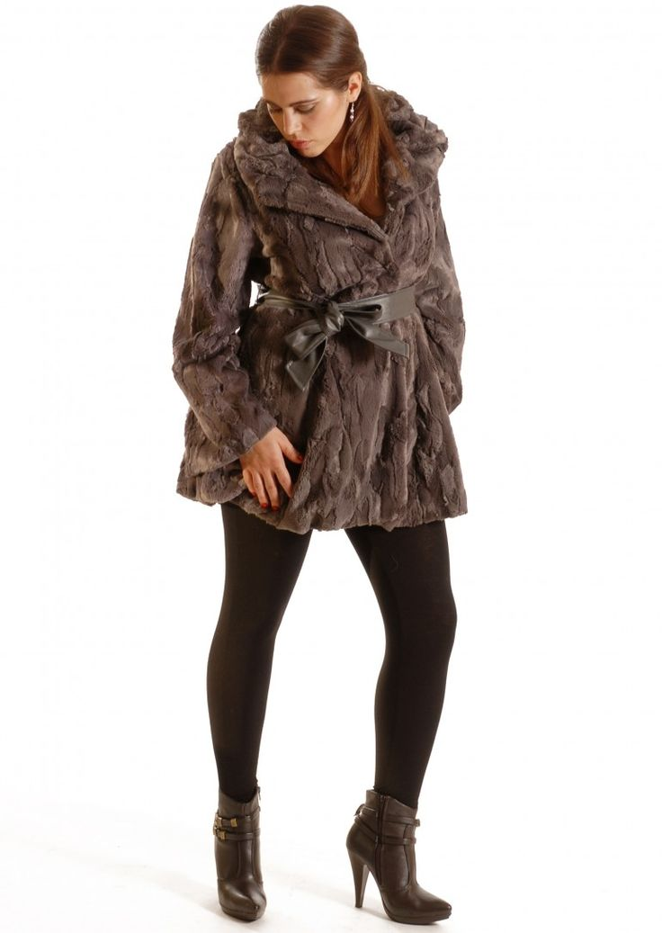 We love this Mocha faux fur jacket with brown belt. So will the lady in your life!  You'll love cuddling up to her too as this coat is just so soft!.
