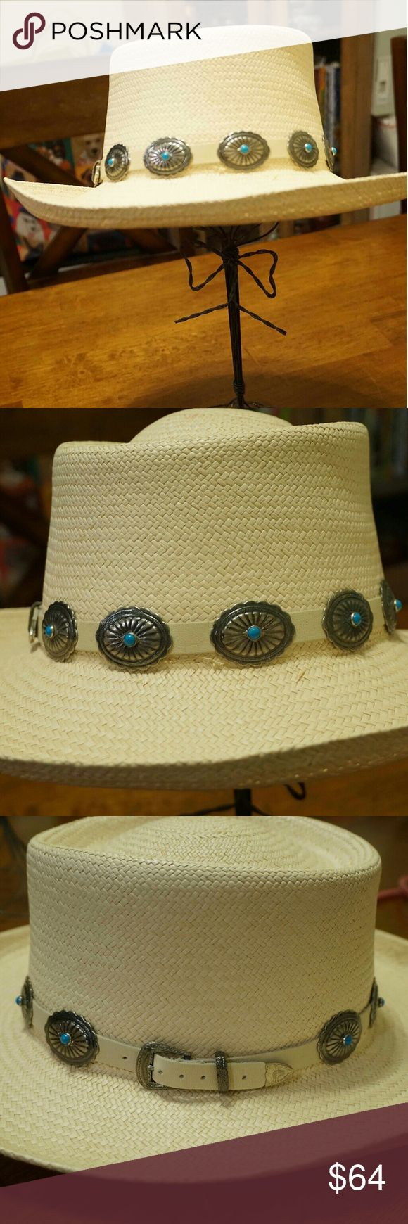 Southwestern bohemian turquoise cabachon straw hat A GORGEOUS vintage boho hat for the summertime. It's a nice light straw material with turquoise canachons adorning it. I especially dig the belt strap on one side. Accessories Hats
