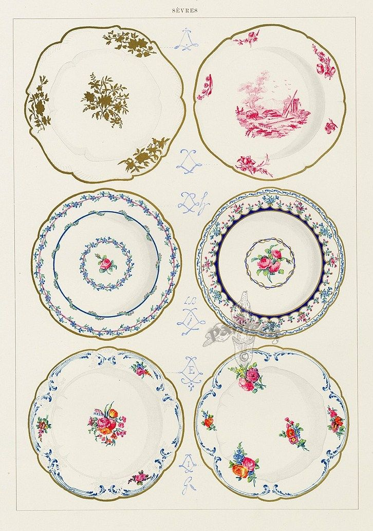 Printable, Porcelain Looking Dollhouse Plates