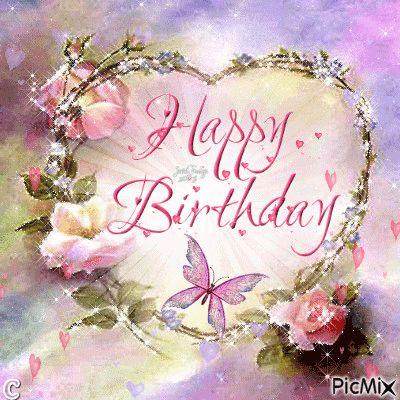 Butterfly Heart Happy Birthday Gif