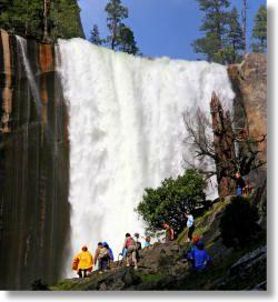 3 miles (4.8 Km) round trip to Vernall Fall, 7 miles (11 Km) to Nevada Fall. http://www.yosemitehikes.com/yosemite-valley/mist-trail/mist-trail.htm