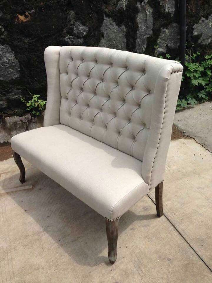 Linen Fabric Wing Back Love Seat $670