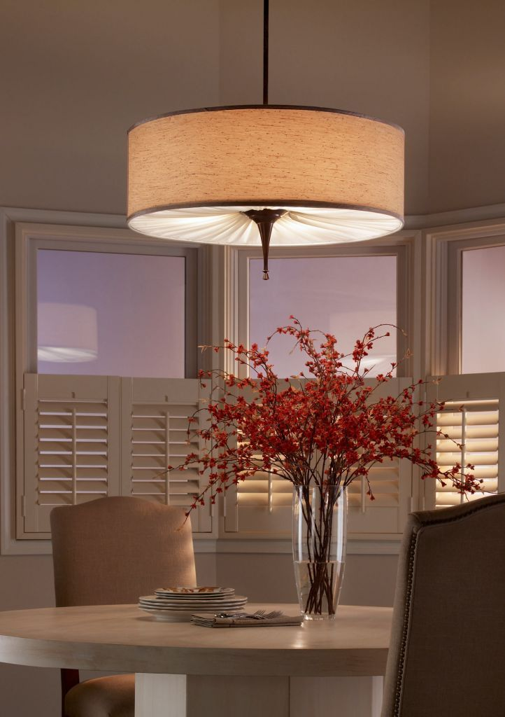 Fancy Dining Room Design Ideas With Captivating Drum Pendant Lights Fixture Above The Round Table
