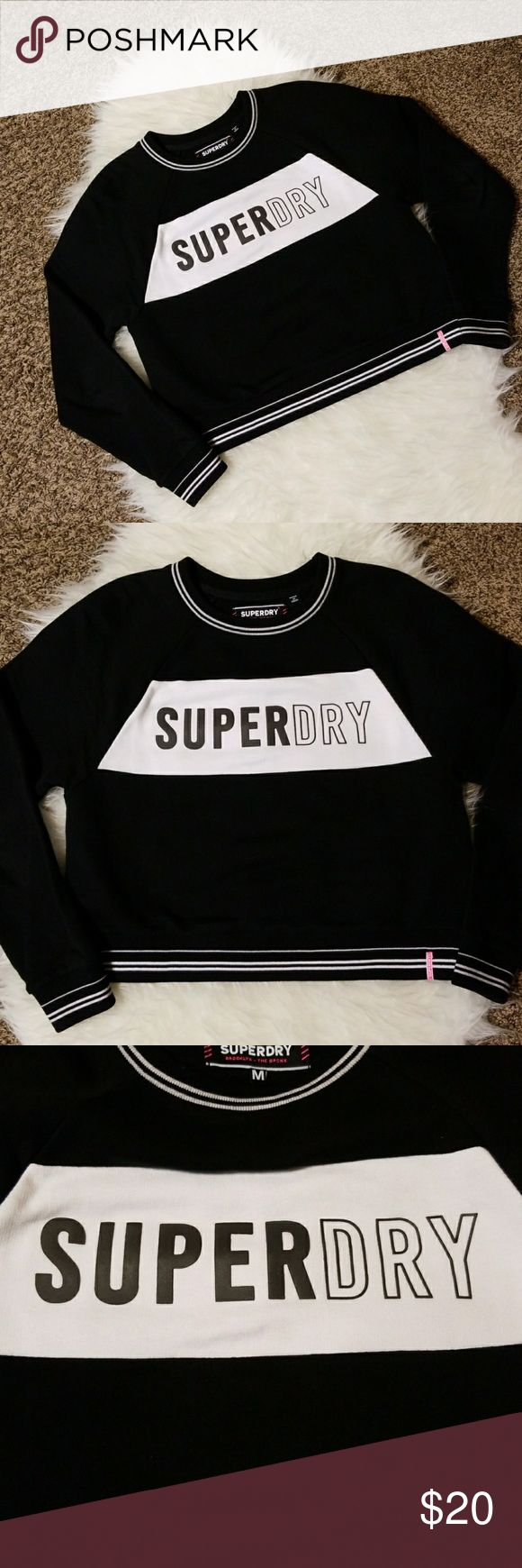 "Superdry Cropped Casual Streetwear Sweatshirt  Bold Logo front  Cropped style Banded sleeves and waist Sz M, 19"" across, 20.5"" long  100% Cotton Superdry Tops Sweatshirts & Hoodies"