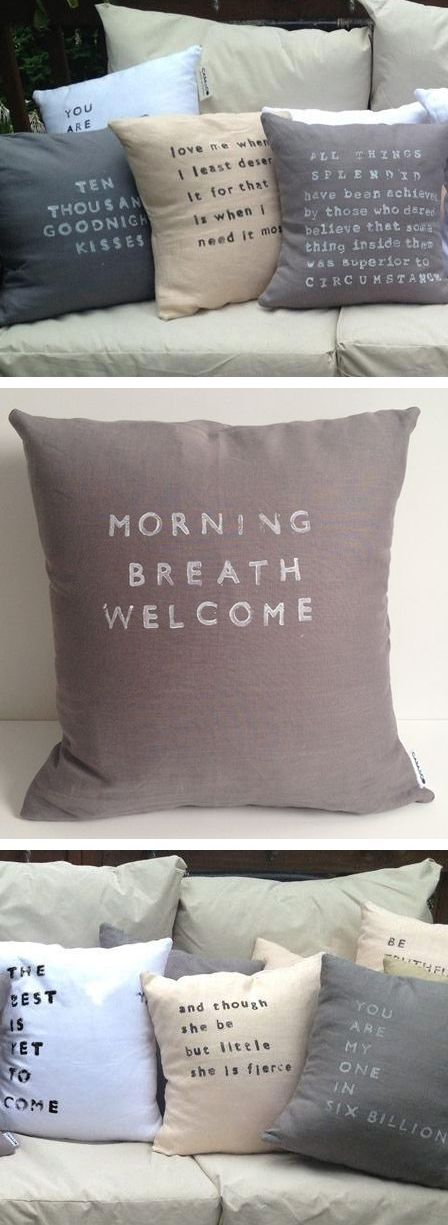 Morning Breath Welcome pillow // unconventionally romantic pillow talk