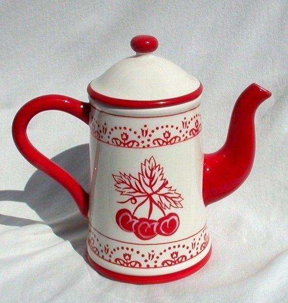red&white.quenalbertini: Vintage red white cherry teapot | Etsy