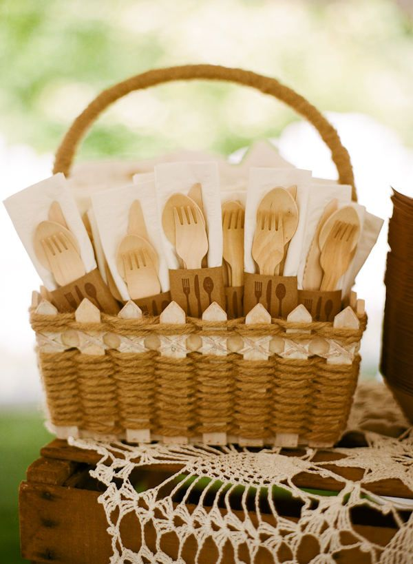 This is great for any style of buffet eating or casual dining situation. Any container would work to contain the utensil set.