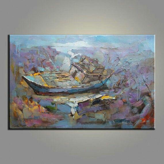Пейзажная живопись Рыболовное судно в ночное время Большой оригинальной картины абстрактного искусства текстуры мастихином картины маслом большая картина маслом