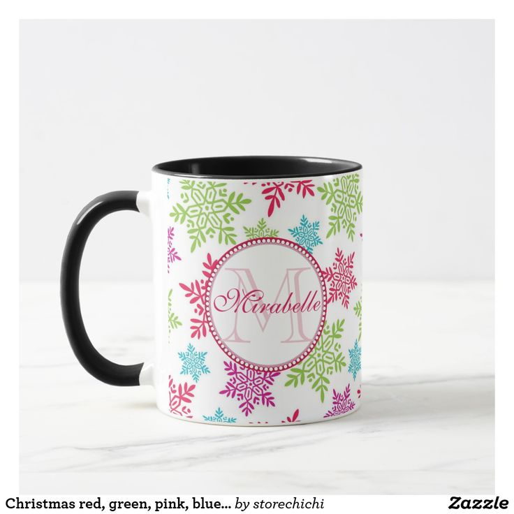 Christmas red, green, pink, blue snowflakes name