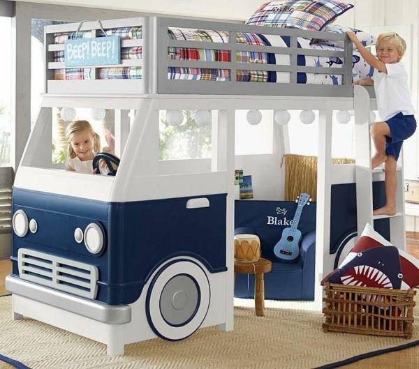 125 großartige Ideen zur Kinderzimmergestaltung - stockbett im jungenzimmer auto motiv