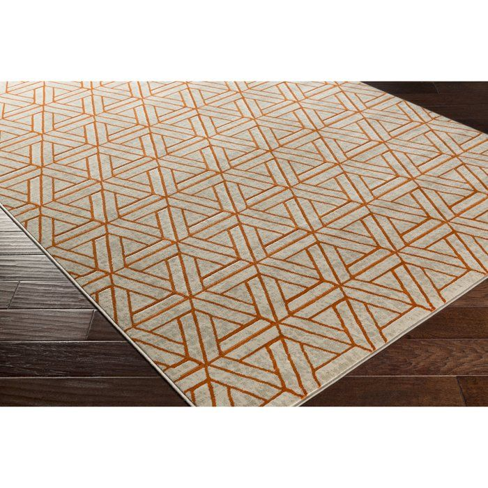 Bring life to any space with the Ginsberg Light Gray & Burnt Orange Area Rug. A bold geometric pattern with a simple yet alluring color scheme make this rug a timeless accent.