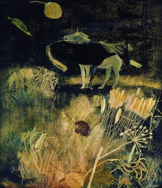Alexander Deineka - Night landscape with horses, 1933