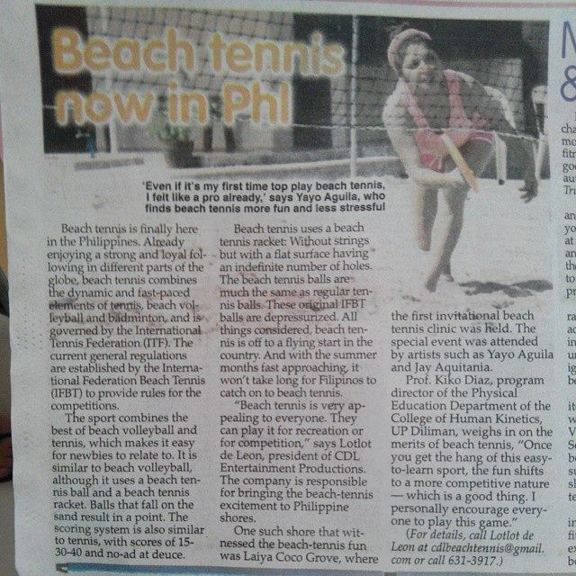 Actress Yayo Aguila speaks of Beach Tennis and made it to Philippine Star Newspaper!!! #philippinebeachtennis #beachtennisphilippines #PHBeachTennis #itsmorefuninthephilippines #tobys #philippines #beaches #beachsport #fun #sand #summer #sun #sports #CDLbeachtennis #fady #beachtennis #olympicbeachtennis