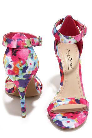 Anne Michelle Enzo 01Y Fuchsia Floral Print Single Strap Heels