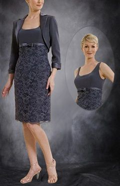 Scoop Tank Top Knee-length Mother's Dress With Jacket - Mother Of The Bride Dresses - OuterInner.com