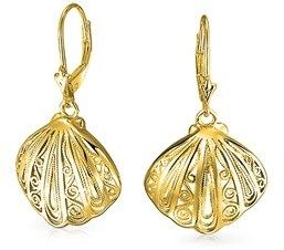 Bling Jewelry Gold Plated 925 Silver Nautical Seashell Leverback Earrings.
