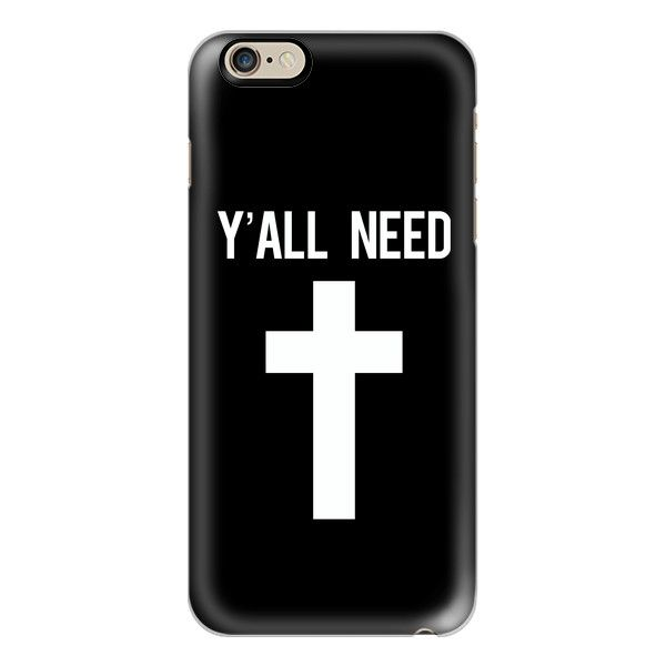 Y'all need Jesus black cross print - iPhone 6s Case,iPhone 6... ($40) ❤ liked on Polyvore featuring accessories, tech accessories, phone cases, phone, iphone cases, cell phone, apple iphone cases, iphone cell phone cases, iphone cover case and slim iphone case