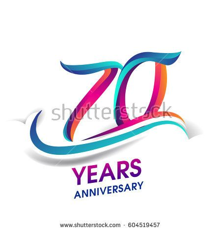 Download seventy years anniversary celebration logotype blue and ...