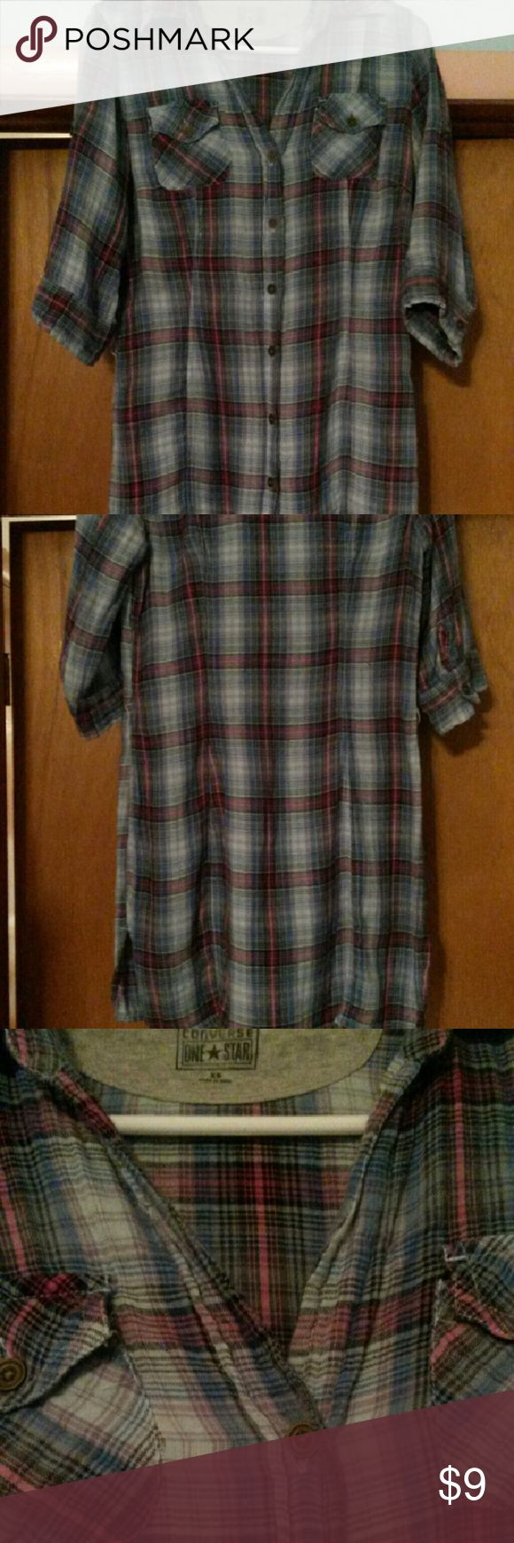 Long flannel shirt Cute with leggings.  Bought from another Posher but it's a little too small for me.  Colors are really pretty.  Good condition. Converse Tops Tunics