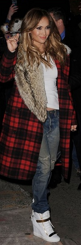 Who made  Jennifer Lopez's white wedge sneakers and red plaid coat that she wore in New York?