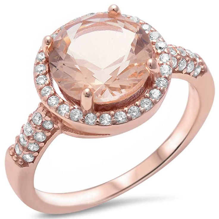 Round Morganite CZ Rose Gold Plated 3.87Ct Engagement Sterling Silver Ring 5-11 #Unbranded #SolitairewithAccents