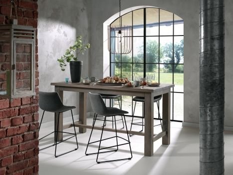 bartafel, landelijk, landelijke stijl, metalen, barstoel, stoel stof, barstoel stof, Meubelen Larridon, West-Vlaanderen