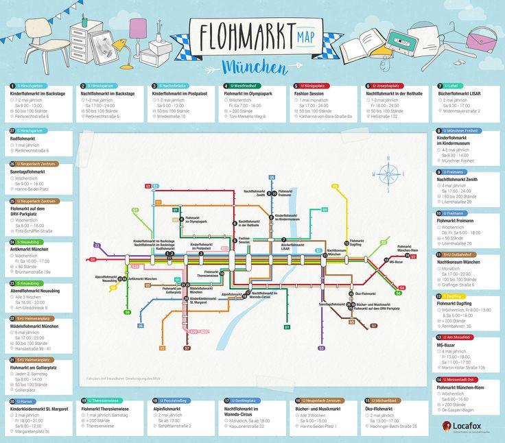 Auf der Suche nach einem Flohmarkt in München? Locafox zeigt dir alle 27 Münchner Flohmärkte in einer übersichtlichen S+U-Bahn-Map.