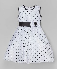 Take a look at this White & Black Polka Dot A-Line Dress - Infant, Toddler & Girls on zulily today!