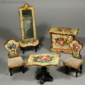 Antique dollhouse furnishings with floral design , alte puppenstuben salonmöbel  , Antique dollhouse furnishings with floral design