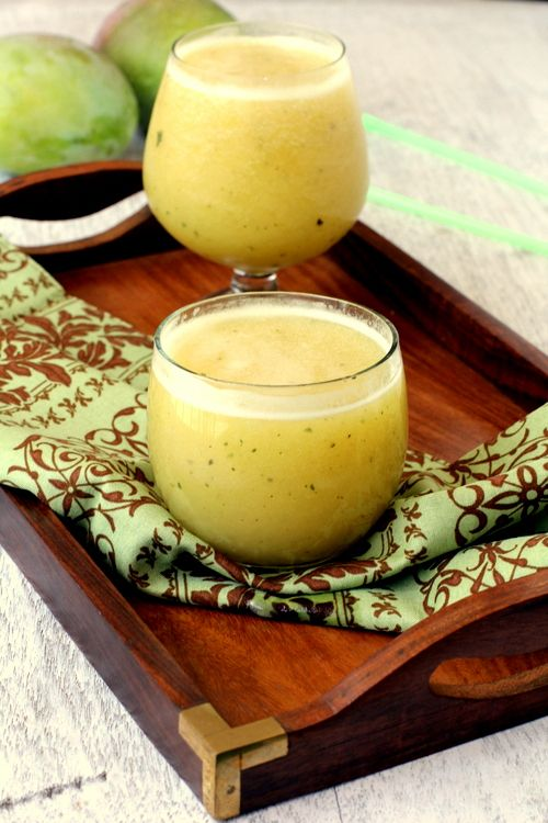 Aam Panna: rejuvenating and refreshing drink using raw green mangoes. Also known as Kairi Panha. Can help with digestion and nausea.