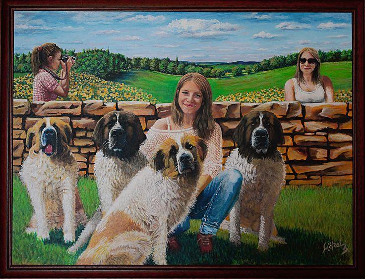 Lány kutyákkal 80×60 cm Miskei Béla