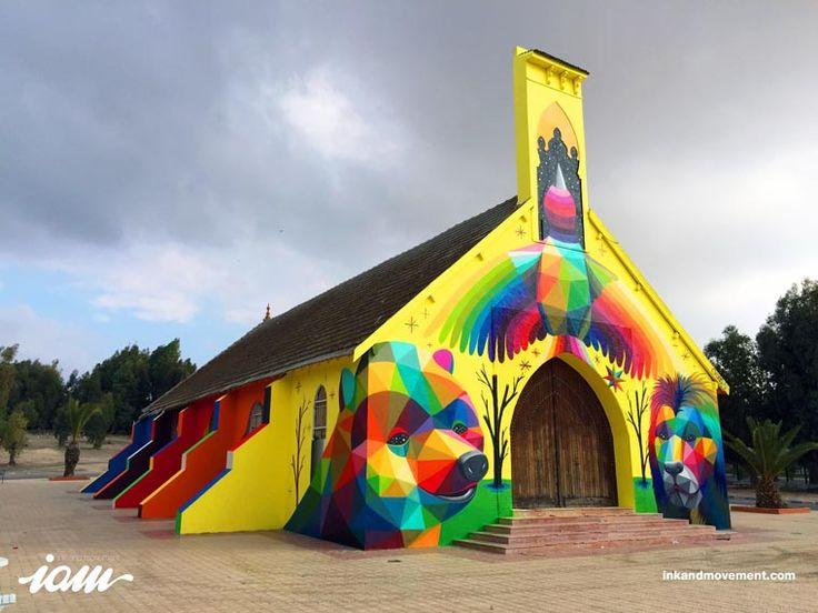 Street Art – Okuda décore une nouvelle église avec ses créations colorées