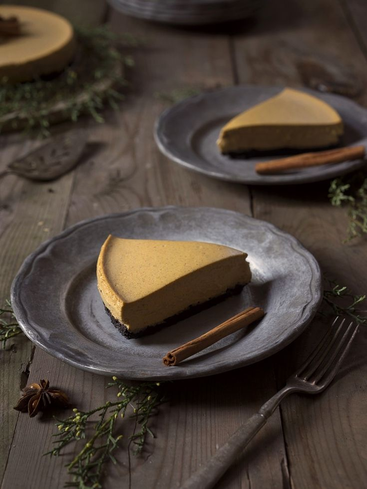 How to Host a Delicious Dairy-Free Thanksgiving (Tips, Swaps, and Recipes) - Pictured: Perfect Vegan Pumpkin Cheesecake with Chocolate Crust