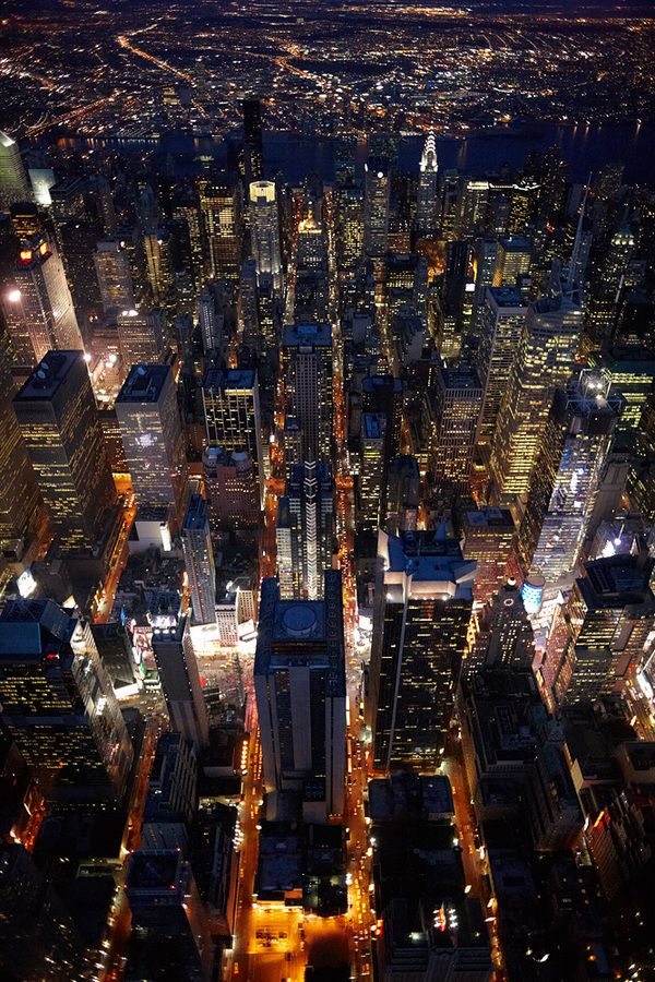NYC. Night aerial view over Midtown by Cameron Davidson