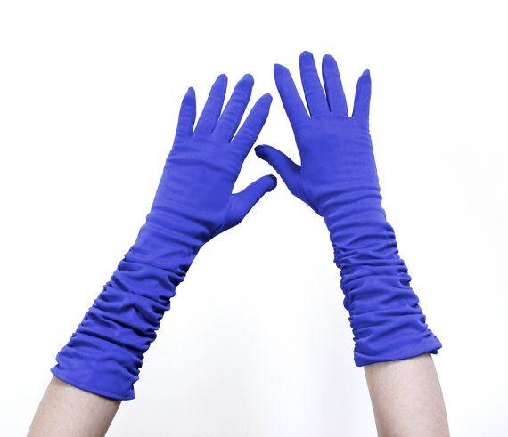 Vintage Cobalt Blue Gloves  Mid Century Ruched by MaejeanVINTAGE, $20.00