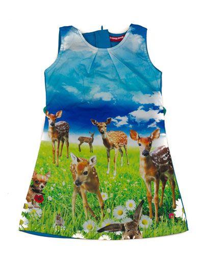 Someone Kids - Blue sleeveless dress with bambi's - Pepatino.be
