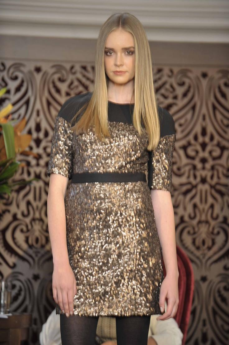 Trend: Metallics  Model wears Karen Millen dress and #Metalicus wool tights.   #qvb #karenmillen #gold #sequin #dress #cocktail