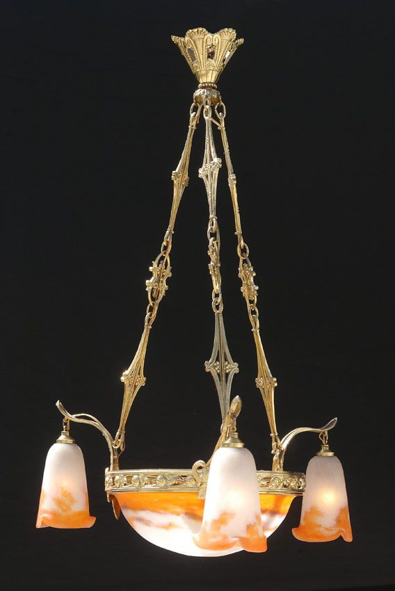 French Deco Muller Freres Art Glass Chandelier Burchard Galleries