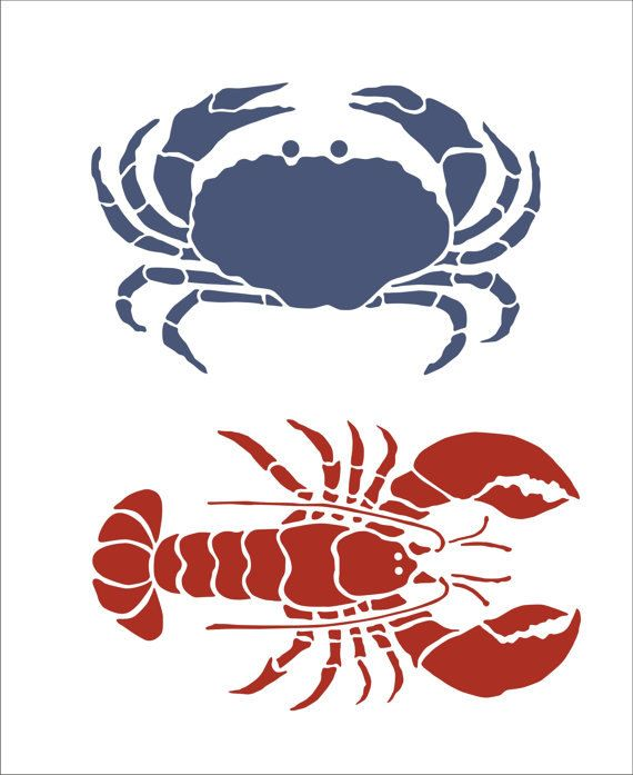 Crab and Lobster Stencil by SuperiorStencils on Etsy