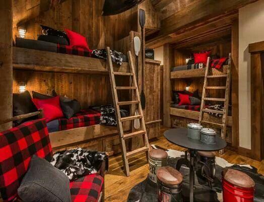 Boys Bedroom Cabin Bunk Beds Log Home Bedroom Bunk Rooms