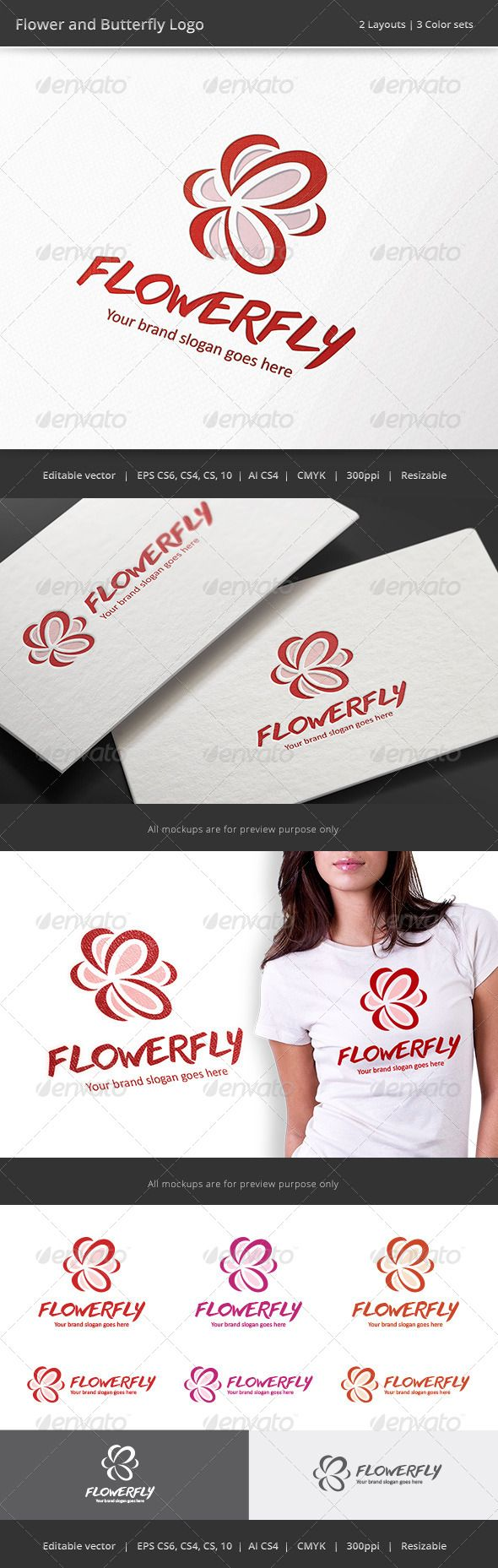 Logotype butterfly and letter b in different colour variants on a - Butterfly And Flower Logo