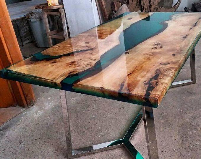 Walnuss Epoxy Tabelle Holz Epoxy Tisch Holztisch Etsy