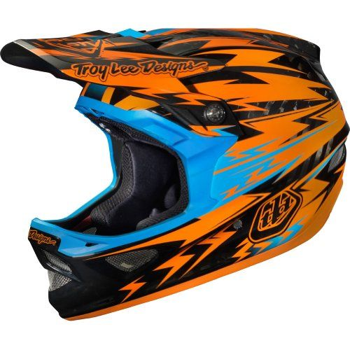 Troy Lee Designs Thunder CF D3 Carbon Bike Race BMX Helmet - Orange / X-Small