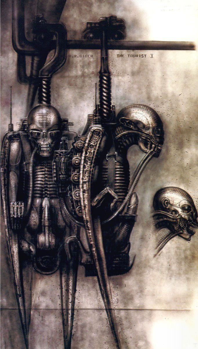 THE TOURIST I painting by H.R. Giger from 'H.R. Giger's Film Design' art  book by Morpheus.