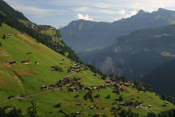 Gimmelwald below and Murren above.  The beautiful Alps of Switzerland